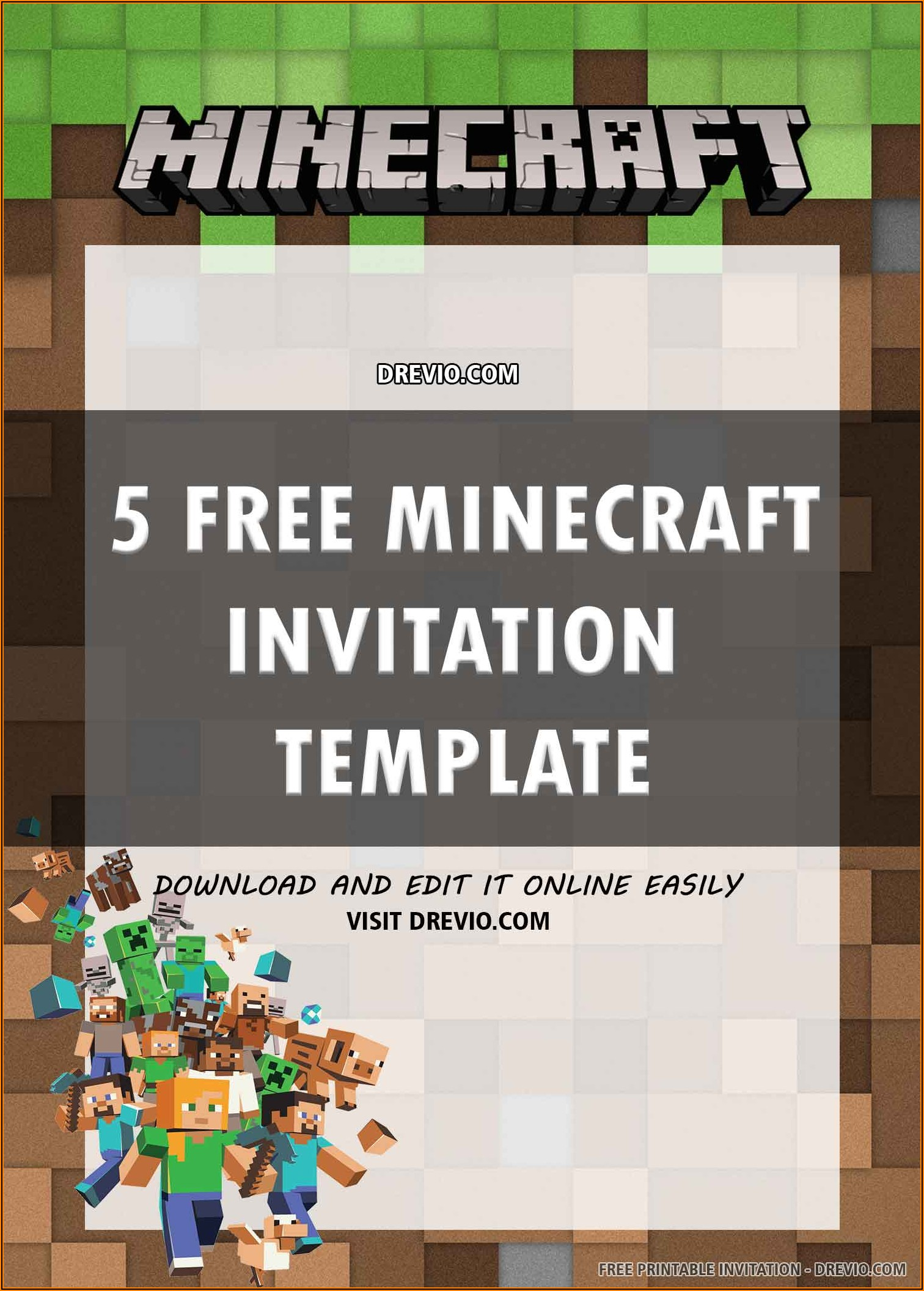 Minecraft Birthday Invitation Template Free Download
