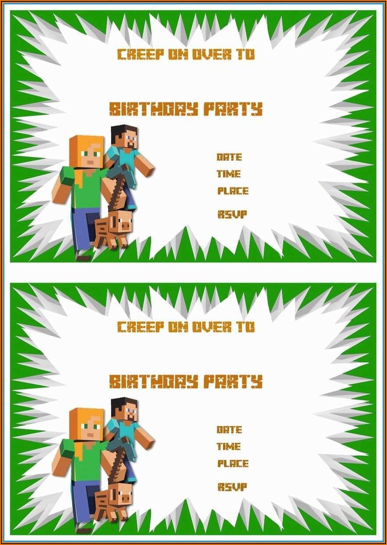 Minecraft Birthday Invitation Template Free
