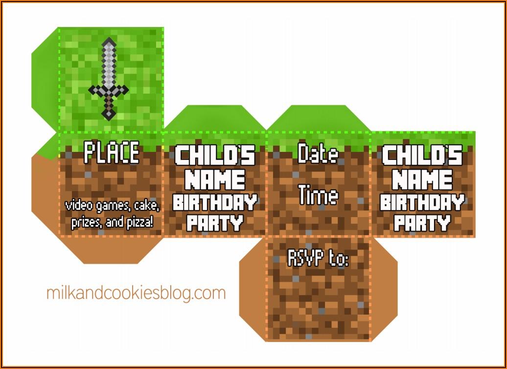Minecraft Cube Invitation Template Free