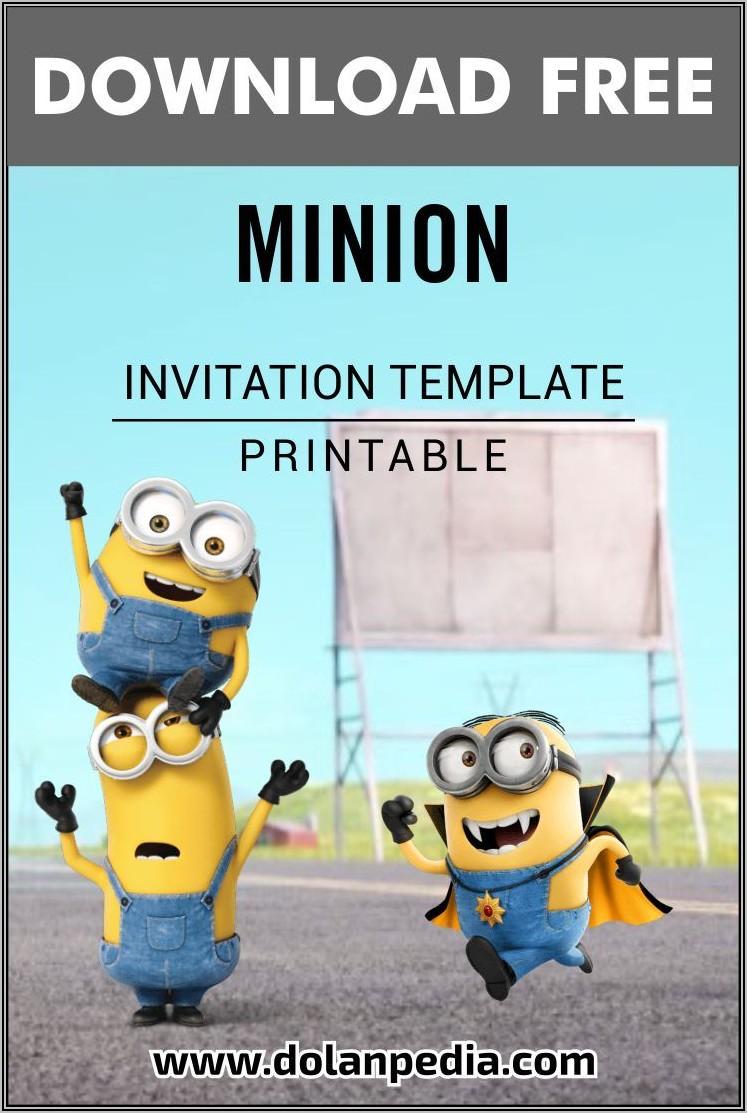 Minion Birthday Invite Template Free