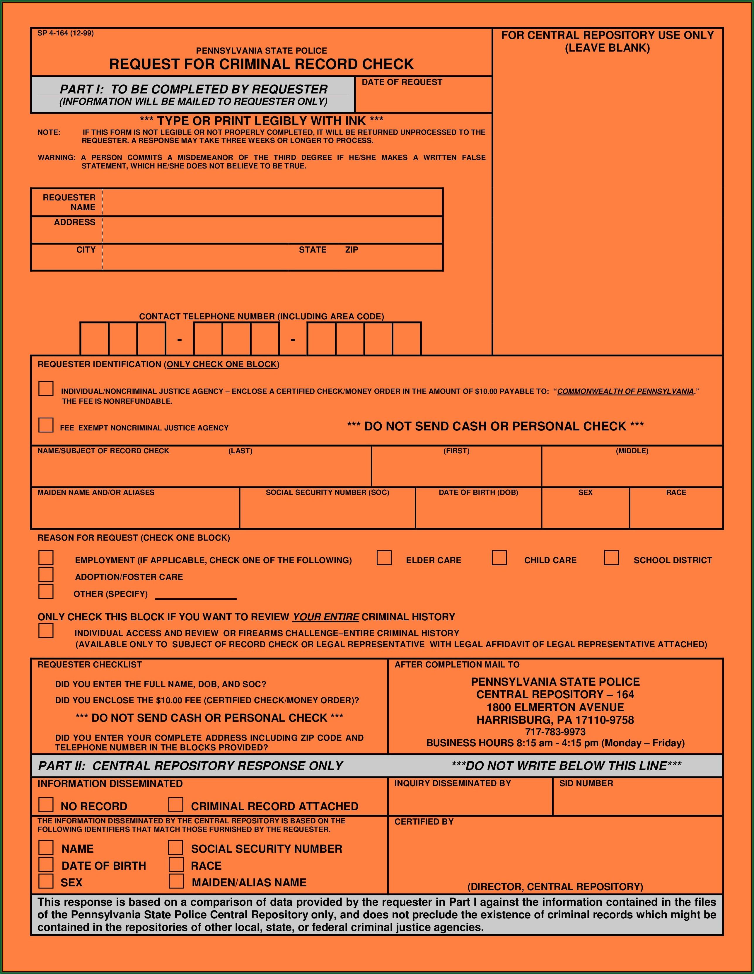 Missouri State Highway Patrol Criminal Background Check Form