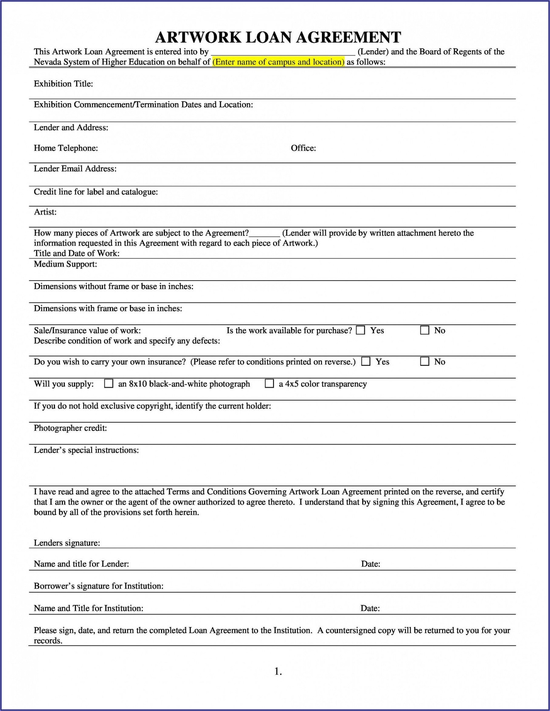 Money Borrowing Contract Template