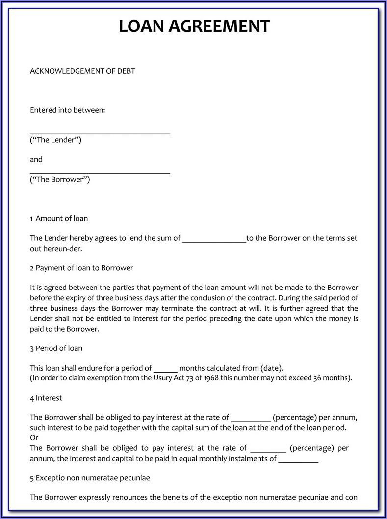 Money Lending Contract Template Uk