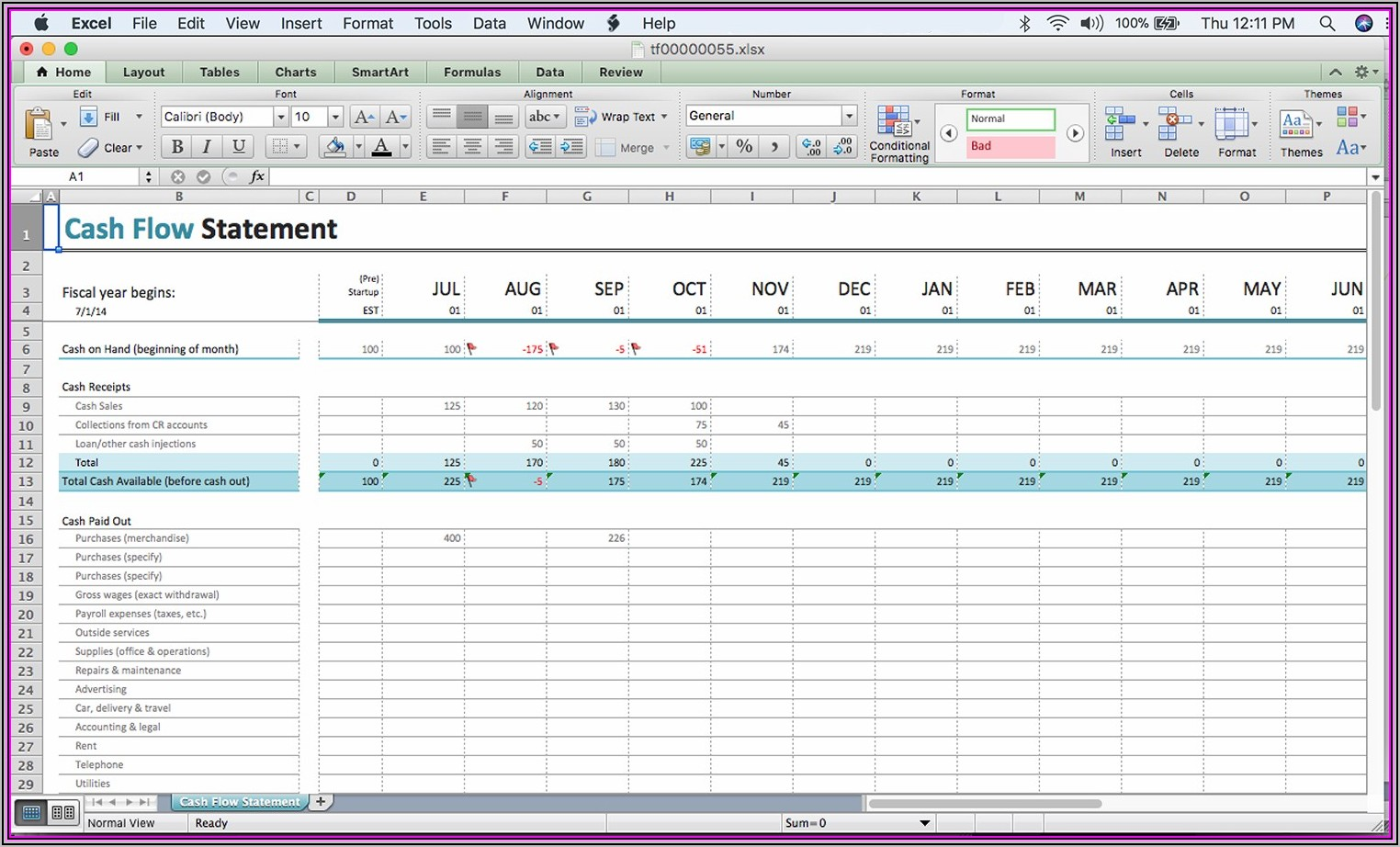 Monthly Cash Flow Template Excel Free Download