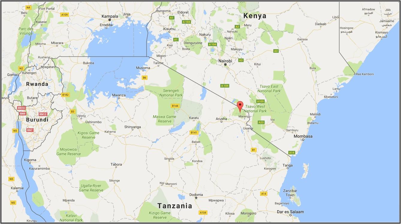 Mt Kilimanjaro Physical Map