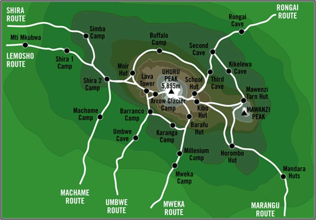 Mt Kilimanjaro Route Maps