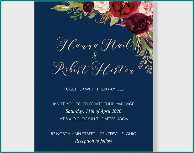Navy Blue And Burgundy Wedding Invitations