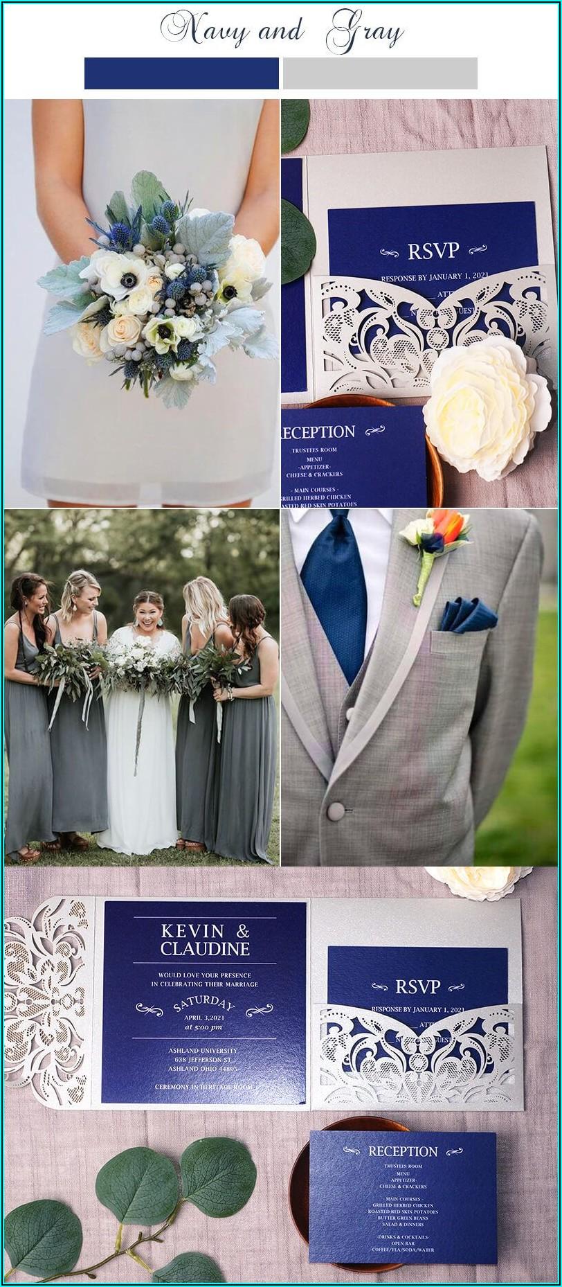 Navy Blue And Grey Wedding Invitations