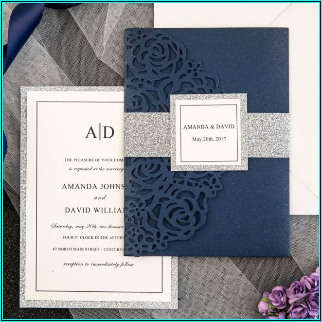 Navy Blue Laser Cut Pocket Wedding Invitations