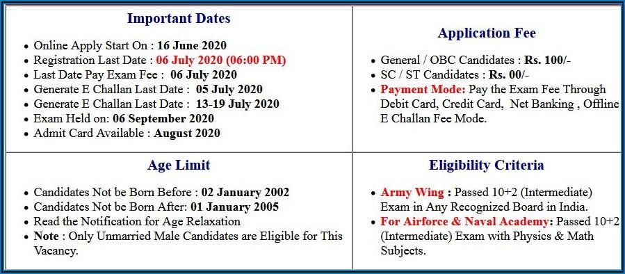 Nda Online Form 2020 Sarkari Result