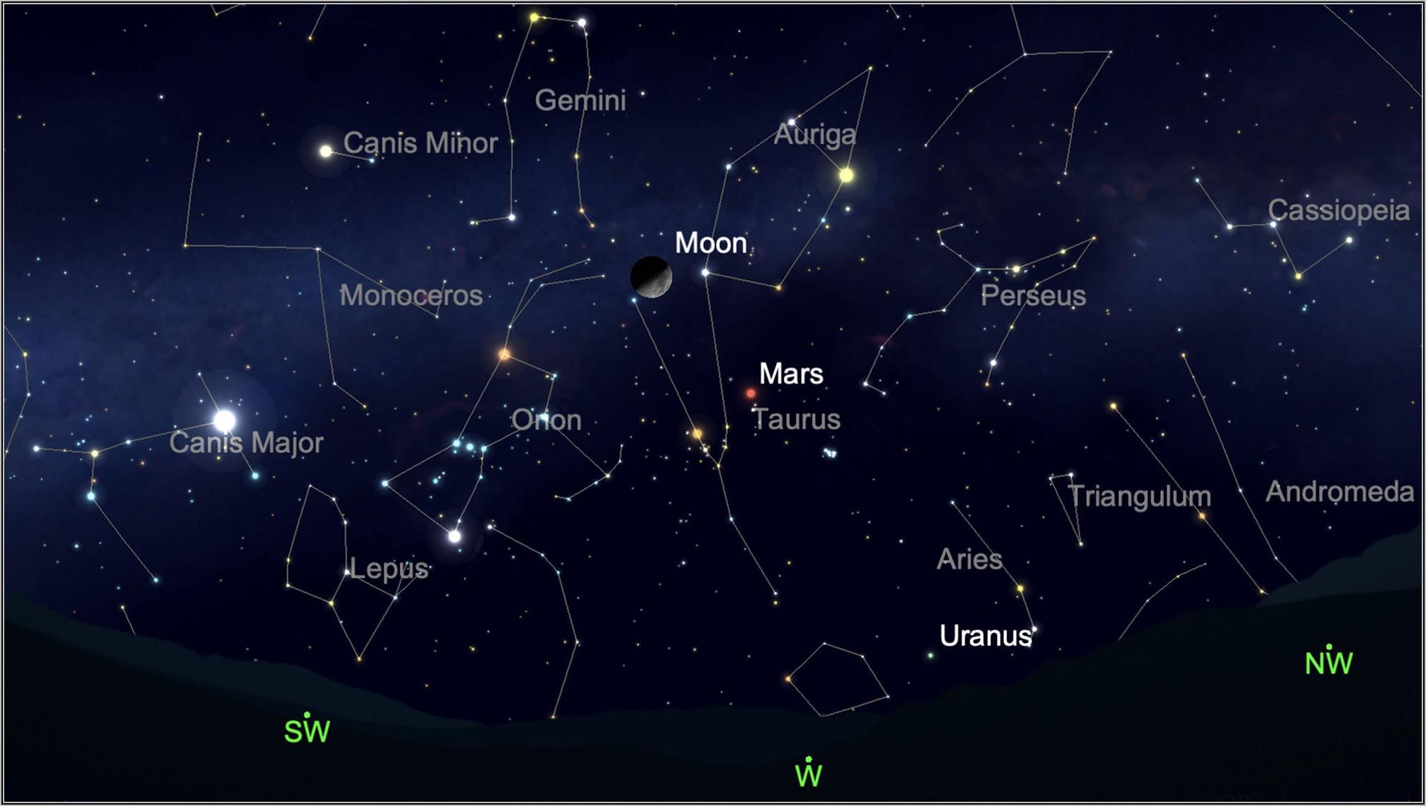 Night Sky Map Tonight California