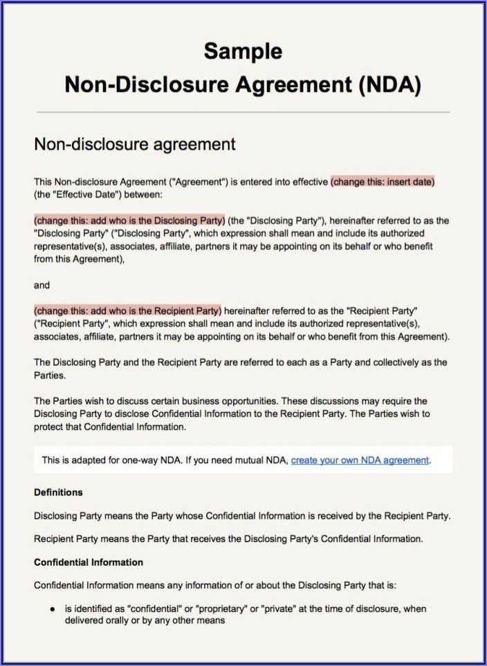Non Disclosure Agreement Sample Pdf