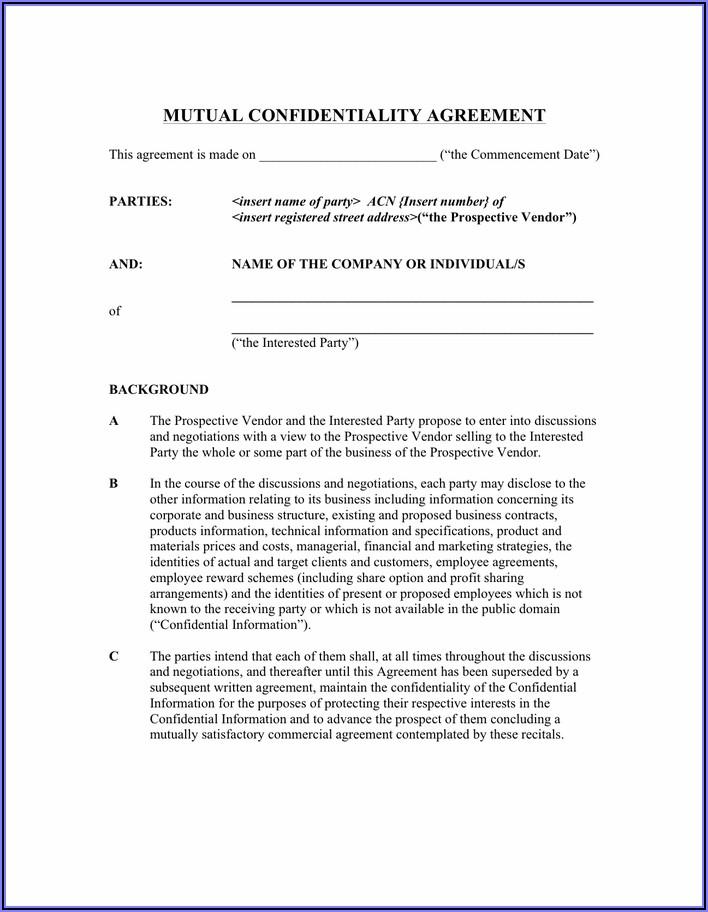 Non Disclosure Agreement Template Pdf