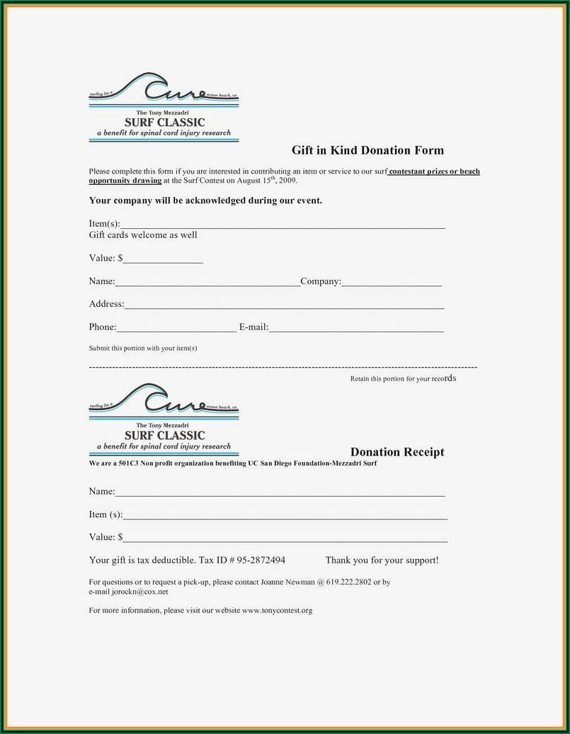 Non Profit 501c3 Donation Receipt Template