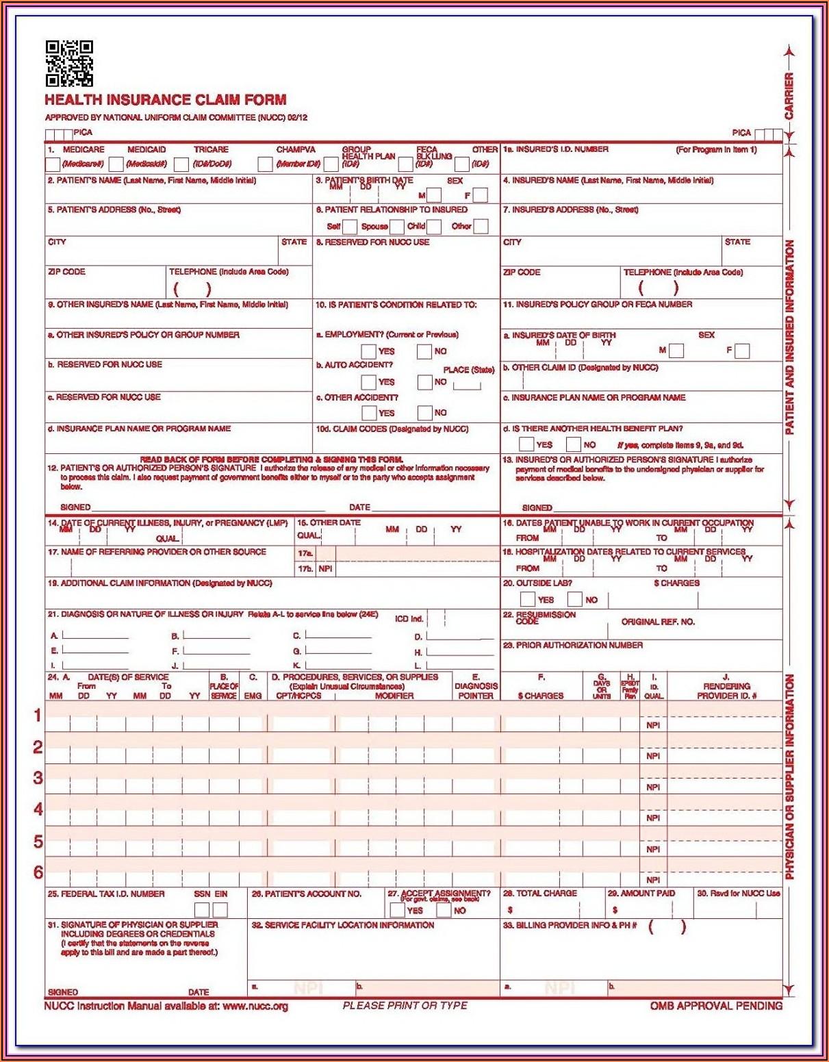 Nucc Cms 1500 Claim Form Instructions