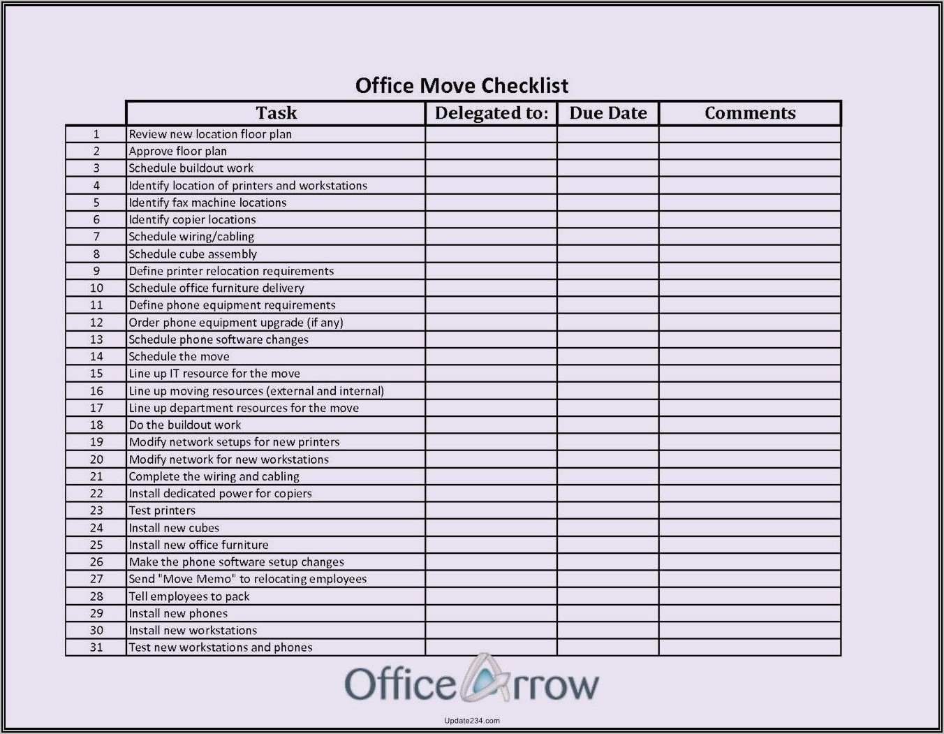 Office Relocation Project Plan Template