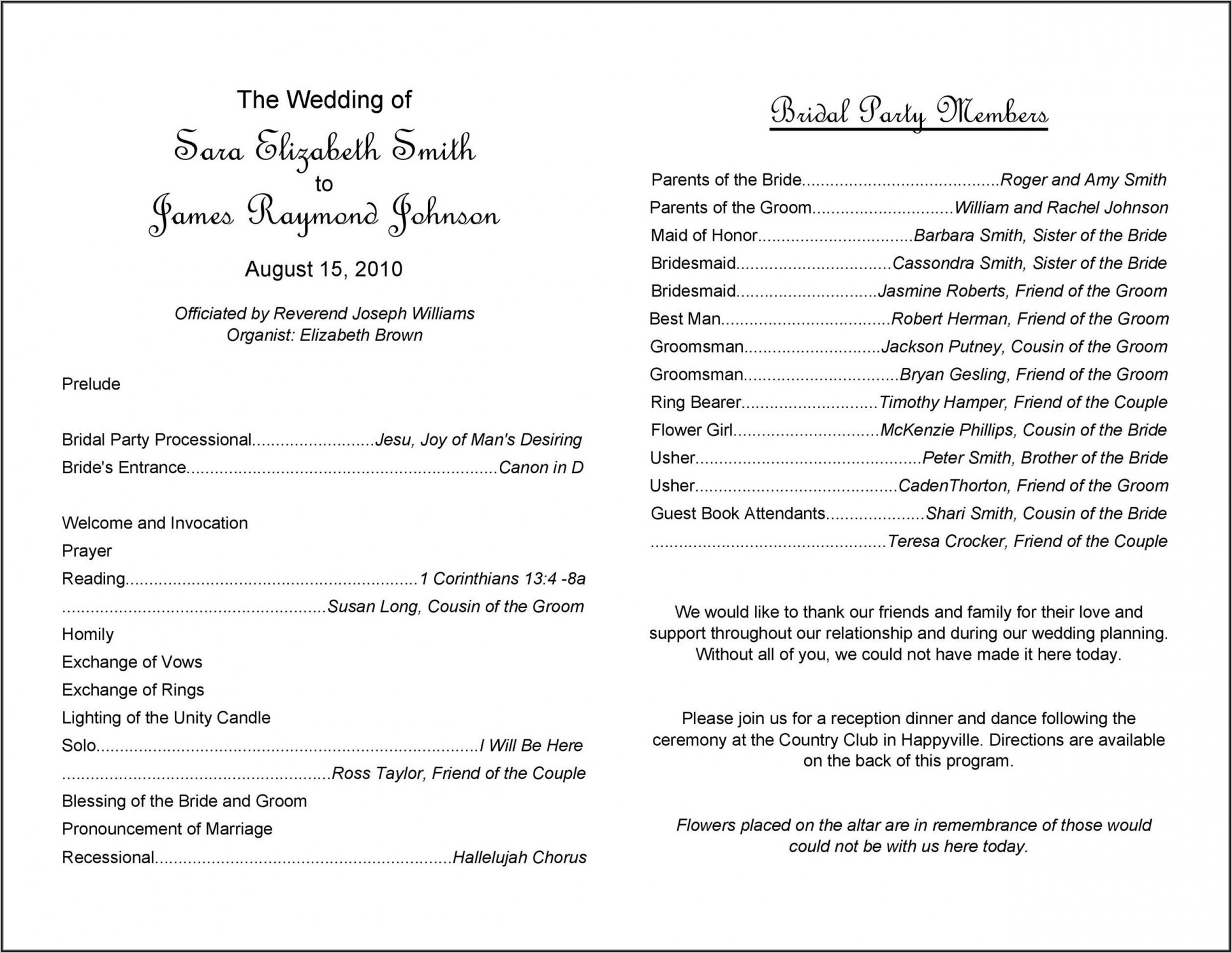 Order Of Service Catholic Wedding Without Mass Template