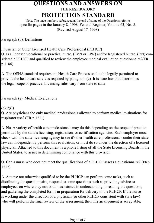 Osha Respirator Medical Evaluation Questionnaire Form Pdf Spanish