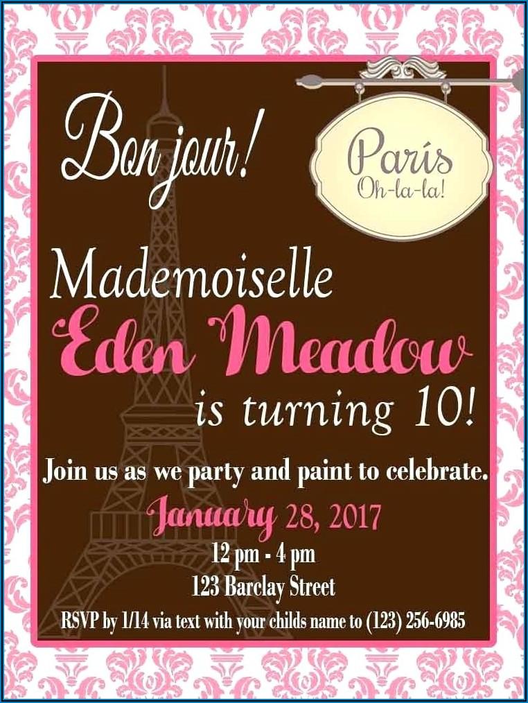 Paris Birthday Invitations Templates