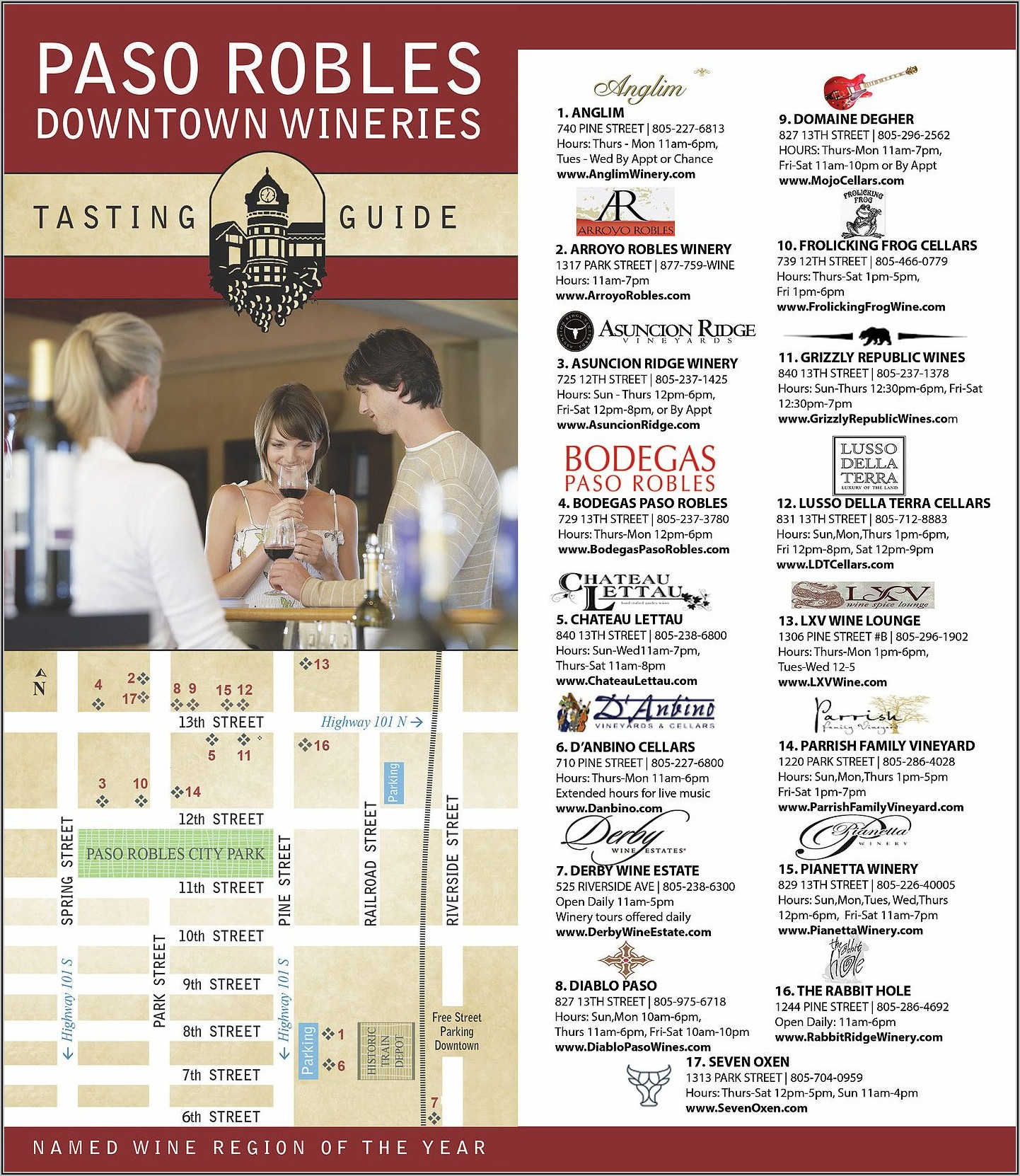 Paso Robles Downtown Wineries Map