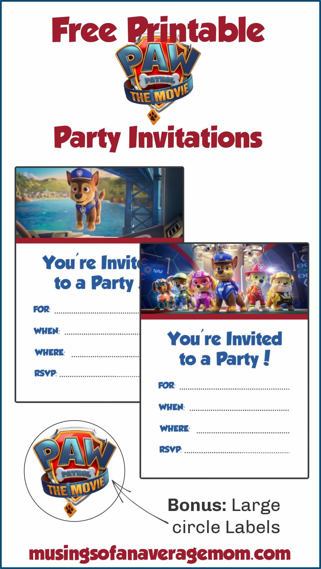 Paw Patrol Printable Invitations Free