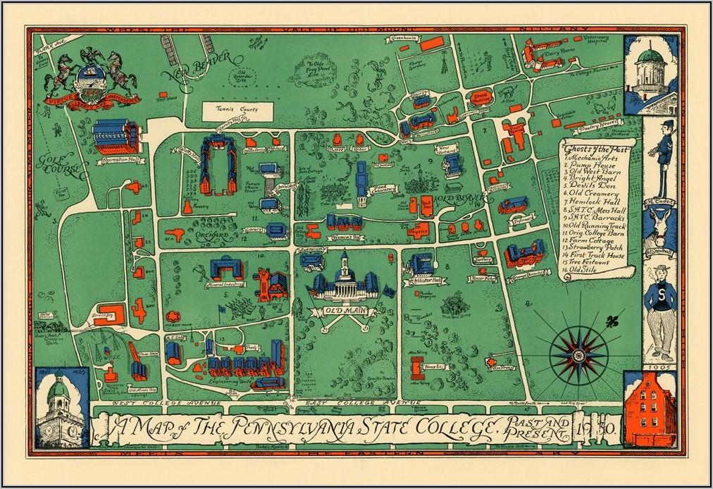 Penn State University Park Printable Campus Map