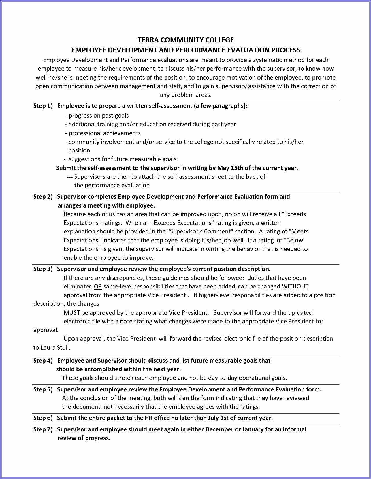 Performance Appraisal Self Evaluation Templates