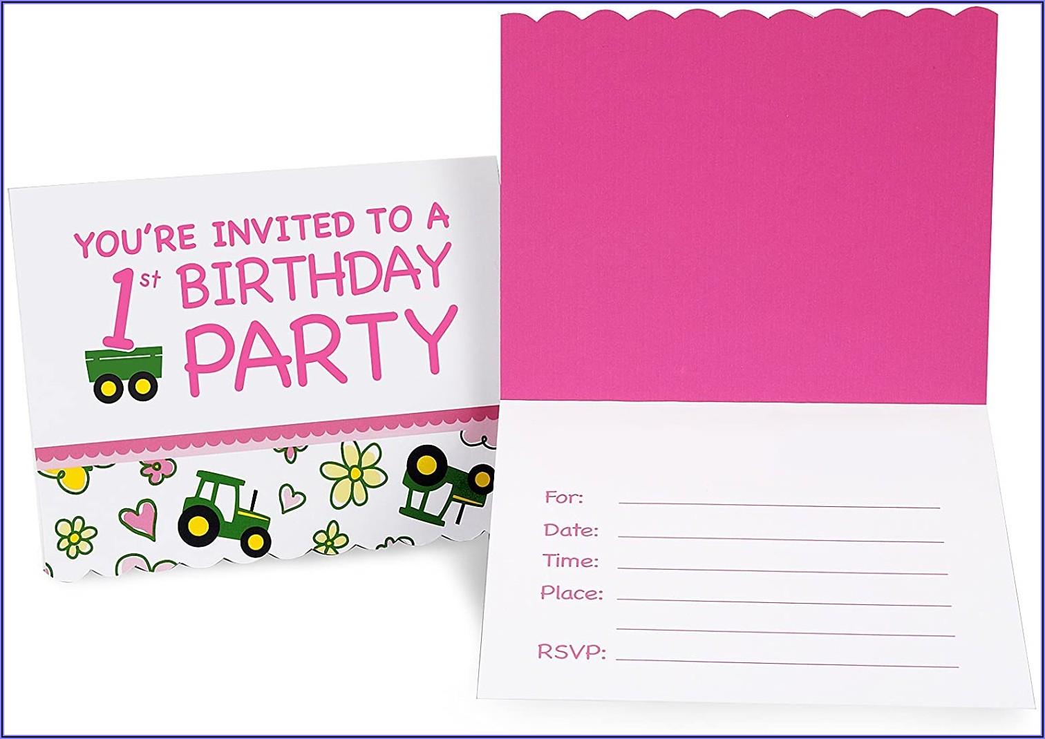 Pink John Deere 1st Birthday Invitations