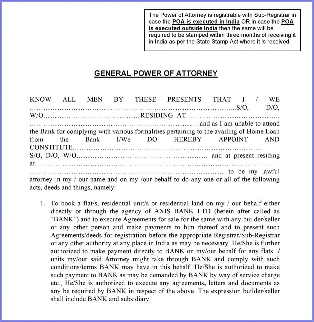 Power Of Attorney Template Arizona