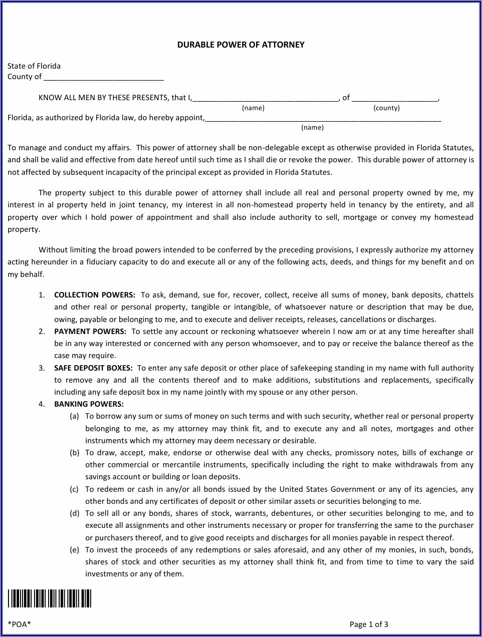 Power Of Attorney Template Florida