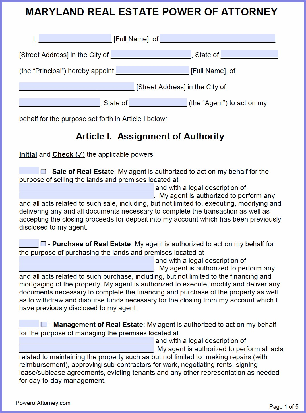 Power Of Attorney Templates Maryland