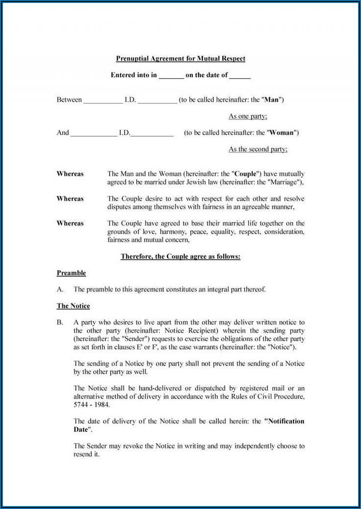 Prenuptial Agreement Sample Form