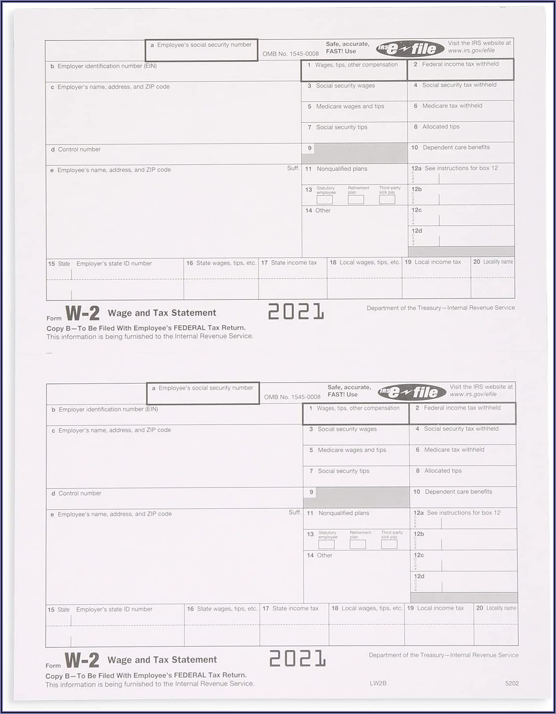 Preprinted W2 Forms For Quickbooks