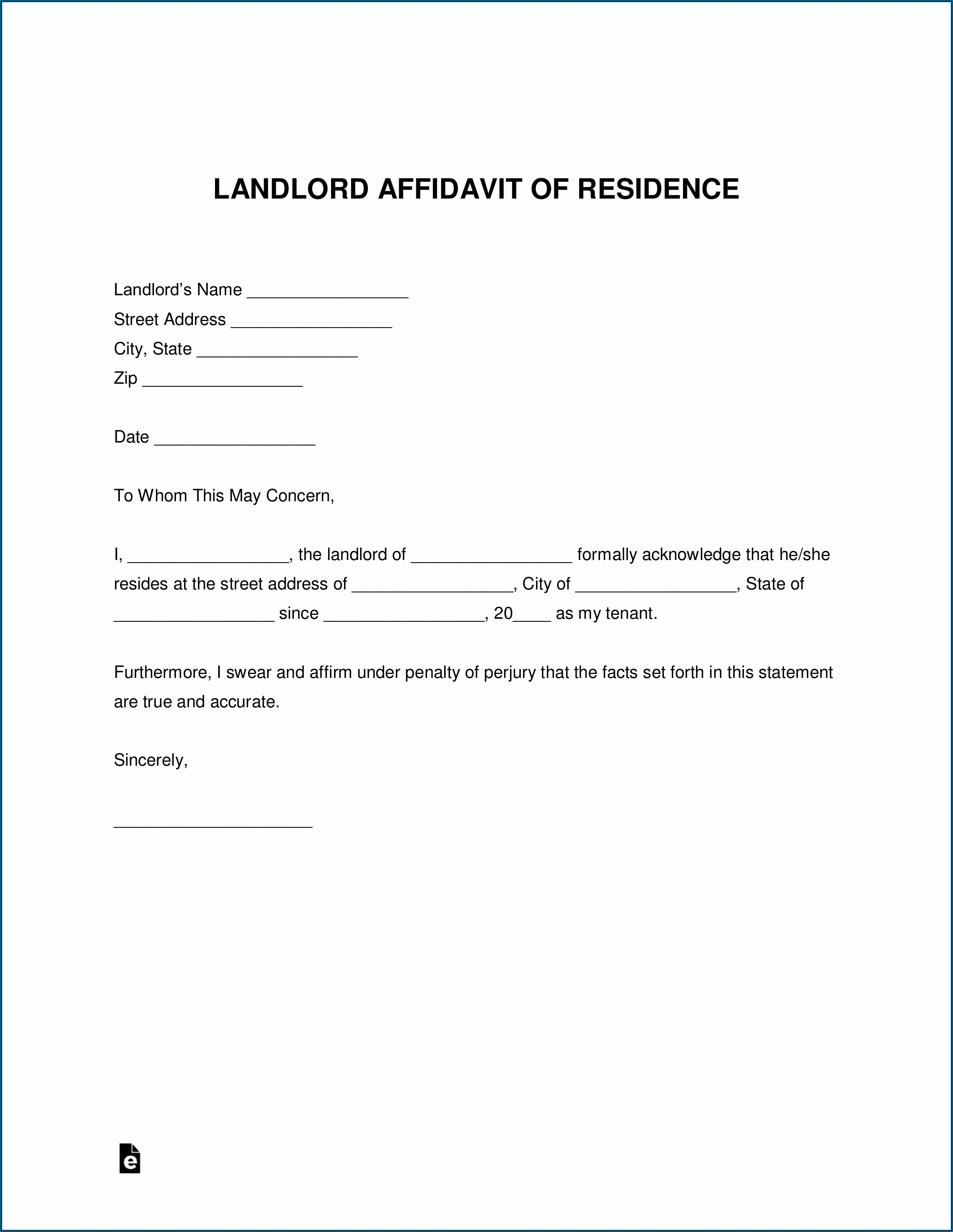 Printable Affidavit Of Residency Form