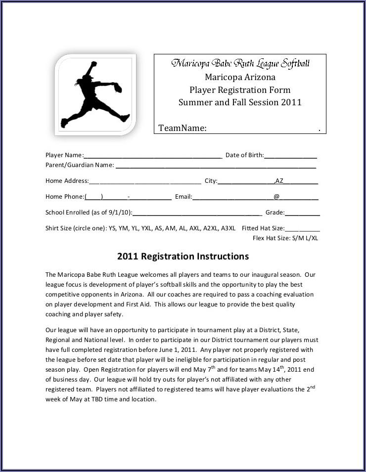 Printable Baseball Registration Form Template