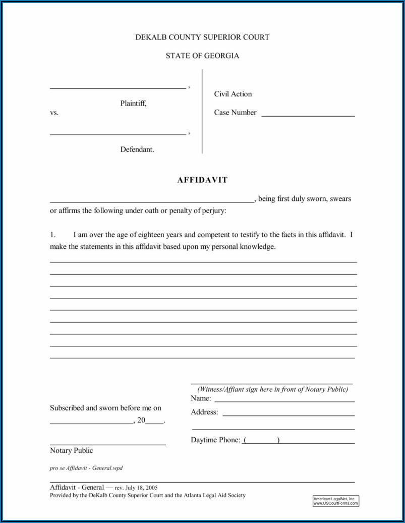 Printable Blank Affidavit Form Pdf