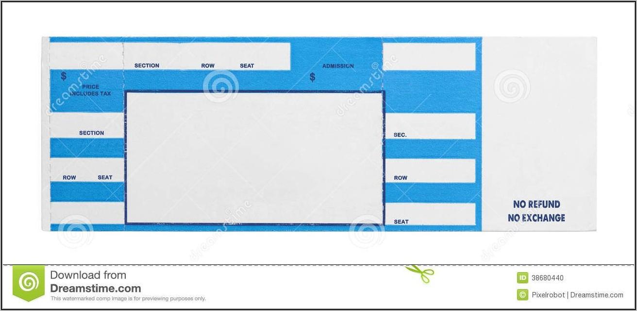 Printable Blank Concert Ticket Template