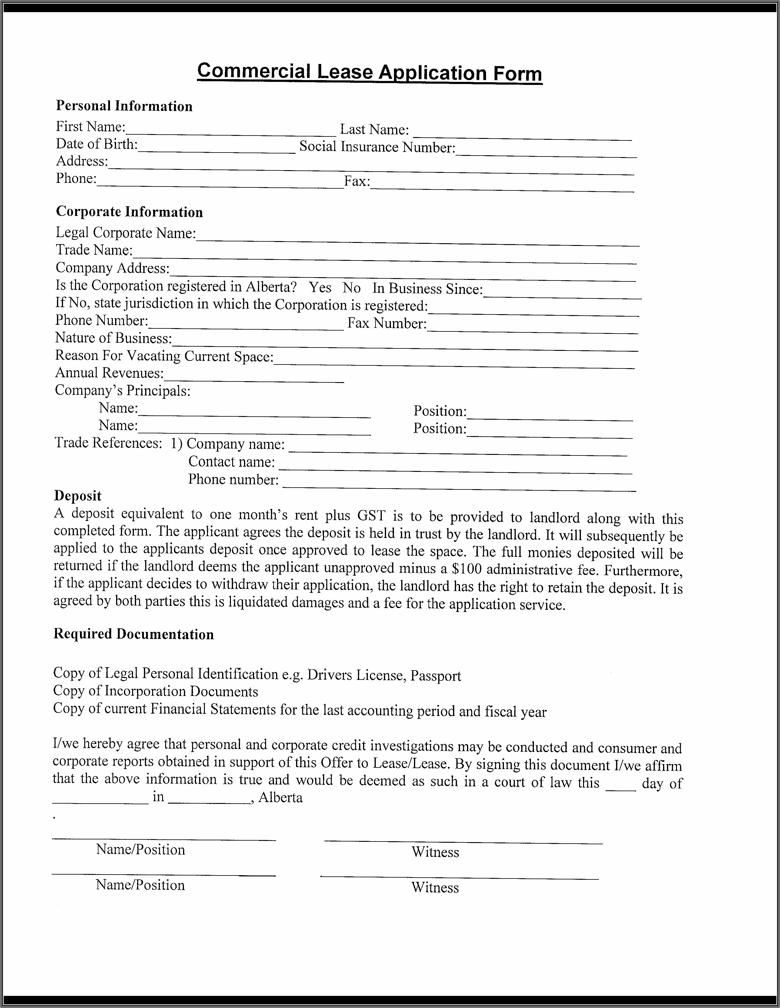 Printable Commercial Rental Application Form