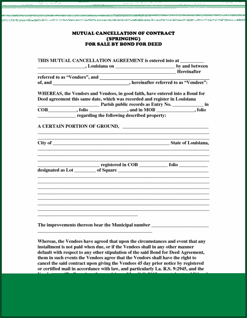 Printable Land Contract Form Michigan