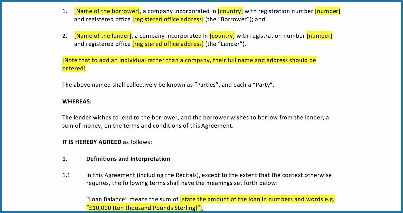 Printable Loan Agreement Template Uk