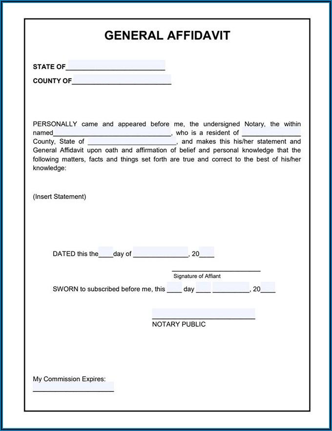 Printable Saps Affidavit Form