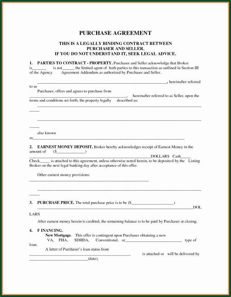 Printable Simple Land Purchase Agreement Form Pdf