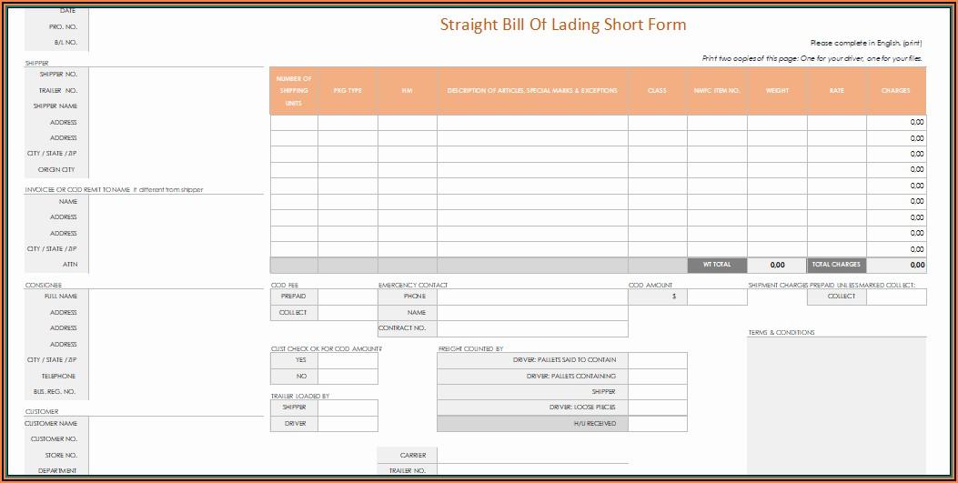 Printable Straight Bill Of Lading Short Form