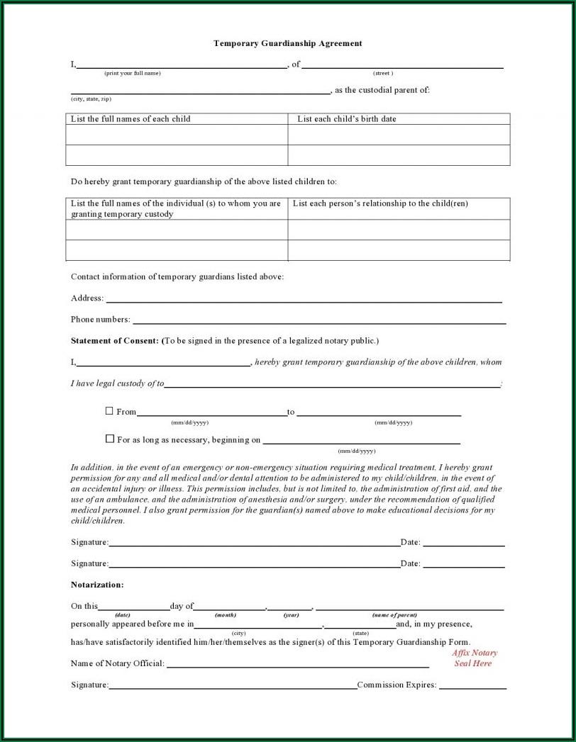 Printable Temporary Custody Forms