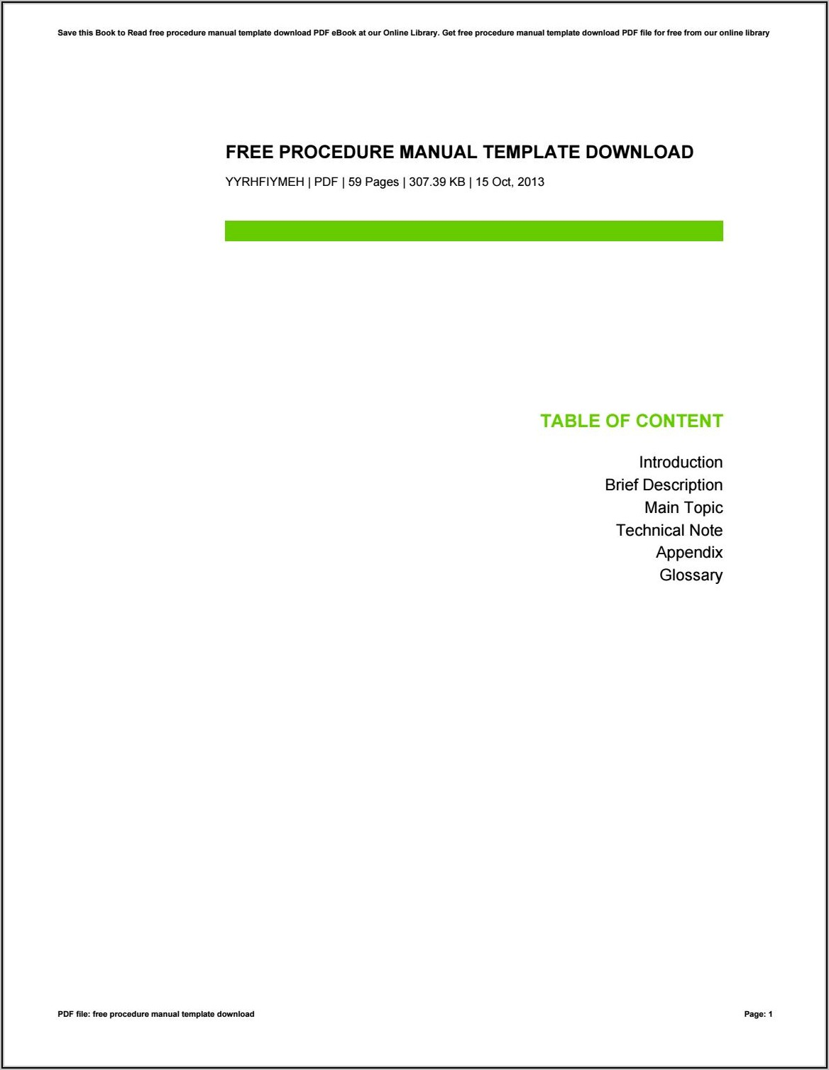 Procedure Manual Template Free Download