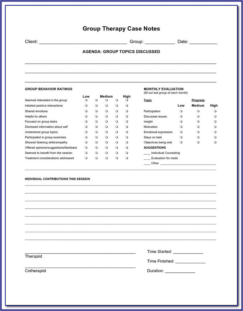 Progress Notes Examples Counseling