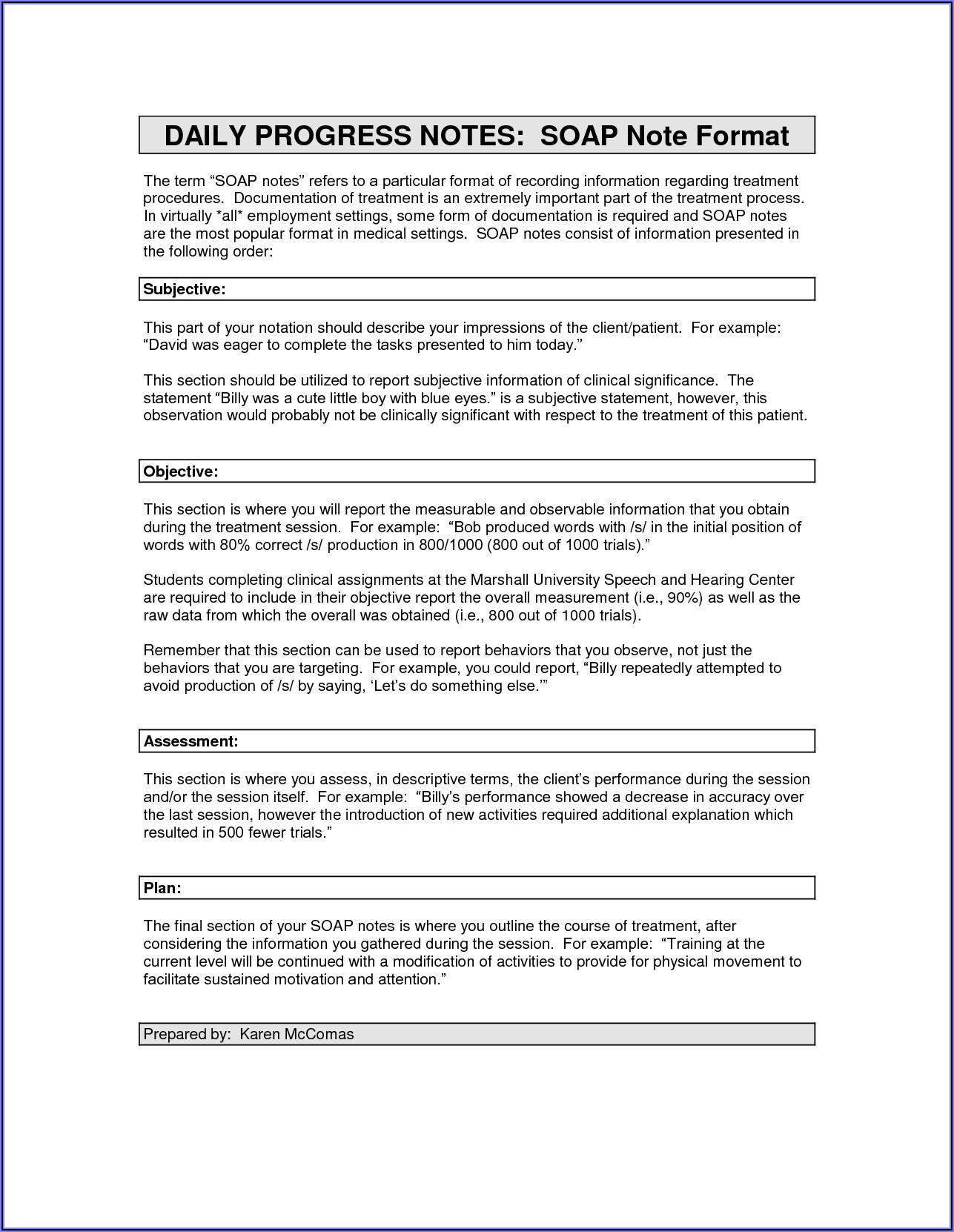 Progress Notes Template Speech Therapy