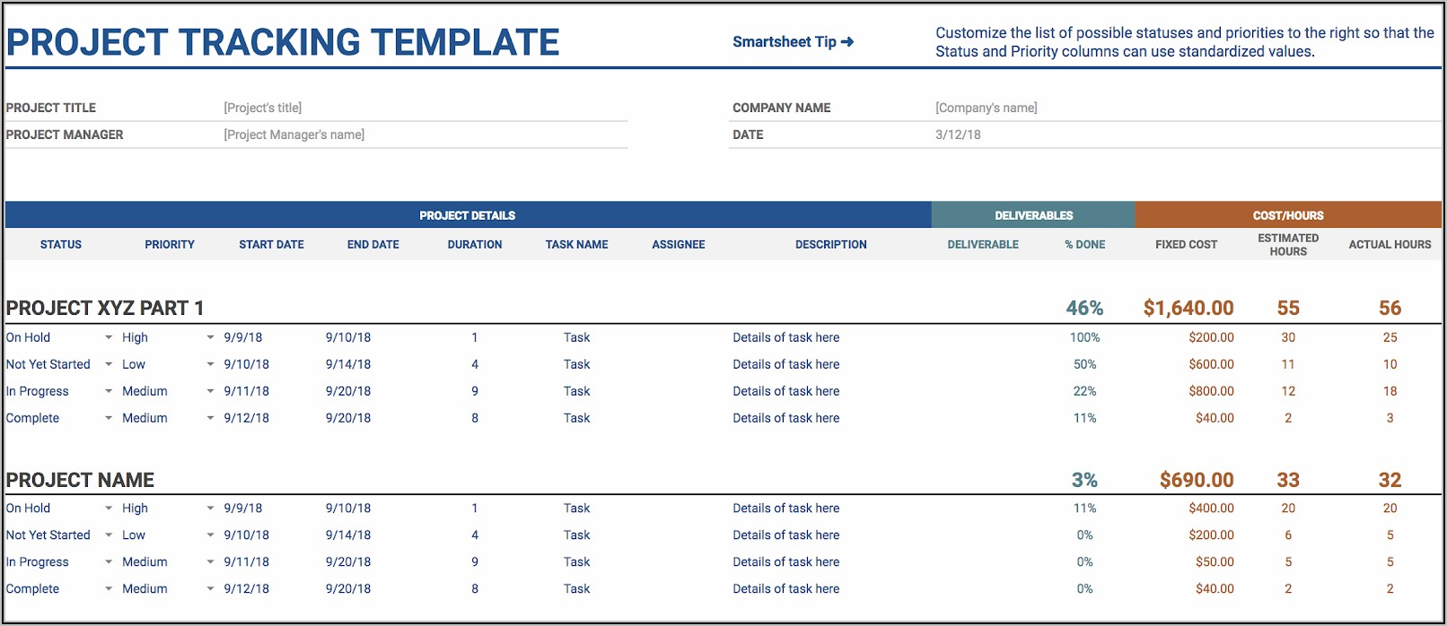 Project Management Spreadsheet Template Google Sheets