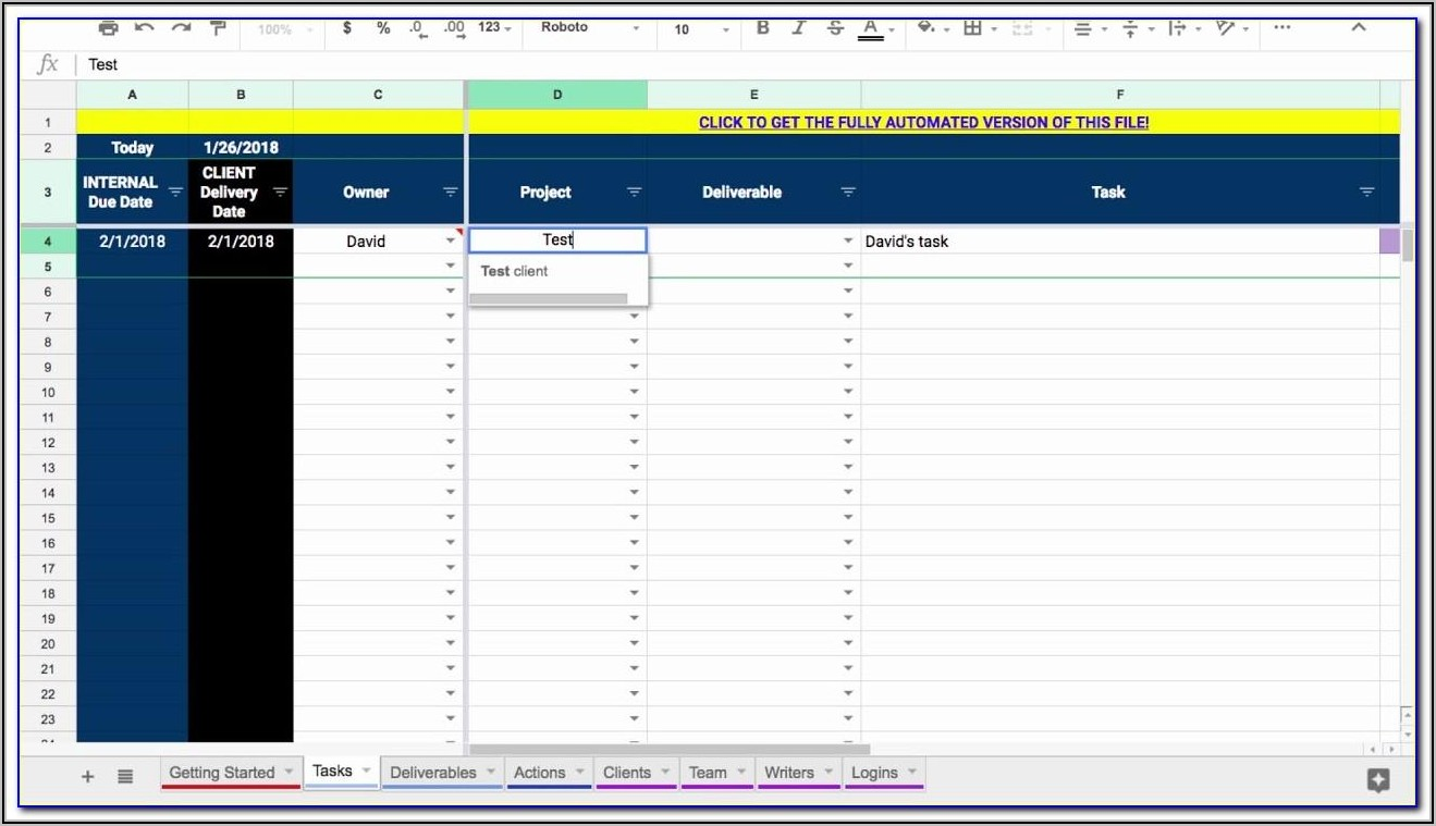 Project Management Template Google Sheets Free