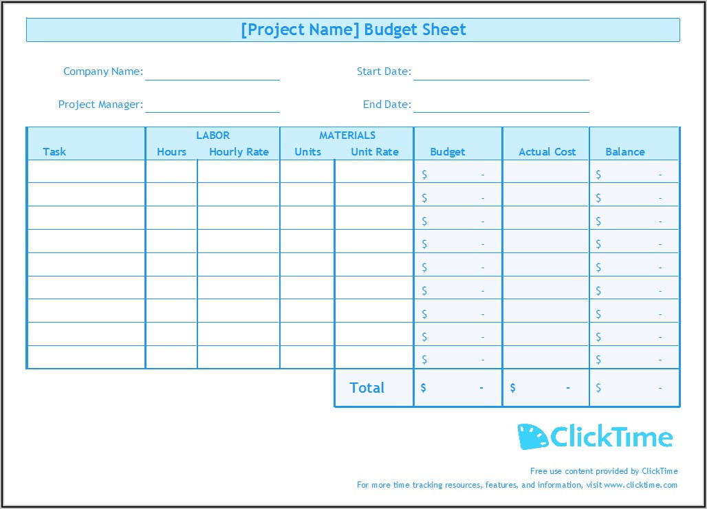 Project Time Tracking Excel Sheet